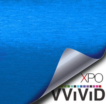 Brushed Aluminum Metallic Blue Vvivid Vehicle Vinyl Film