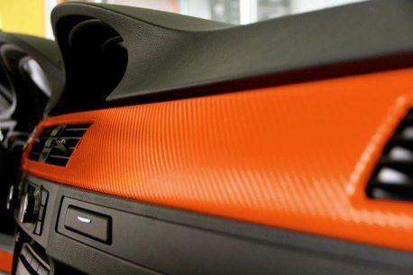 Orange Carbon Fiber Car Wrap Vinyl Film